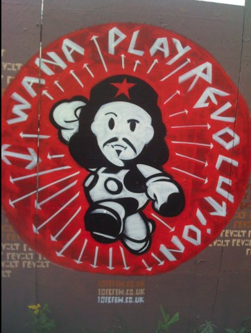 Image: Wanna Play Revolution? Some fine graffiti behind Brighton station