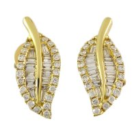 Buy The Yellow Gold Leaf Shaped Diamond Earrings Online ...