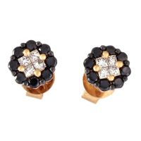 Buy Rose Gold 0.61 Cts Diamond Earrings With Black ...