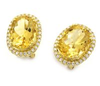 Buy Yellow Gold 0.51 Carats Citrine Diamond Earrings ...