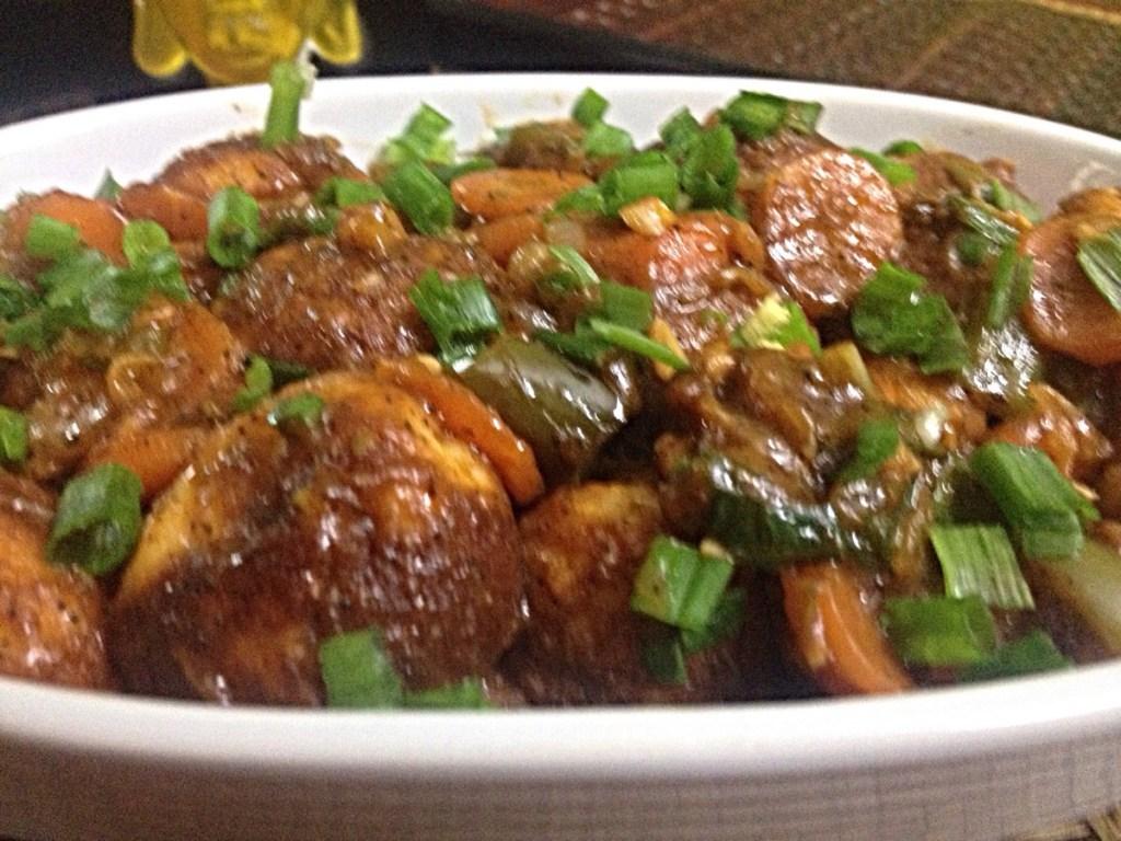 Paniyaram in Manchurian sauce