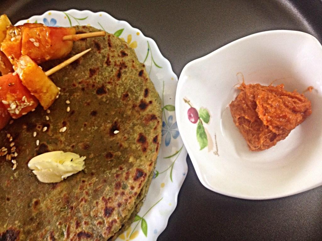 Peas and Pudhina Paratha