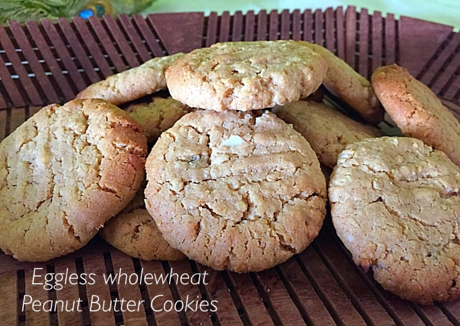 Eggless Wholewheat Peanut Butter Cookies