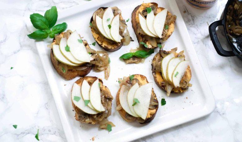 onion and mushroom crostini