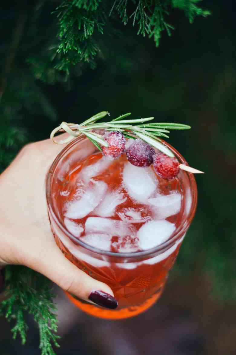 Cranberry Cocktail Recipe with Bourbon and Rosemary
