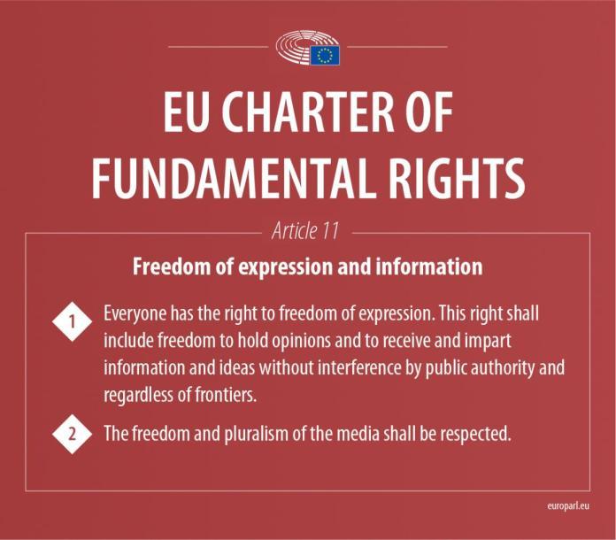 अभिव्यक्ति और सूचना की स्वतंत्रता पर मौलिक अधिकारों के यूरोपीय संघ चार्टर के अनुच्छेद 11 को दिखाते हुए इन्फोग्राफिक
