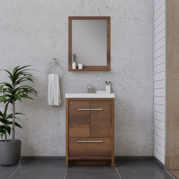Eviva caramel 24 inch teak mid century bathroom vanity with porcelain top and. Alya Bath Sortino 24 Inch Bathroom Vanity Rosewood