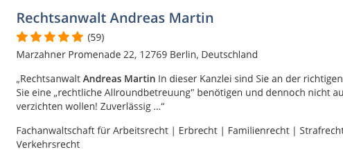 Bewertung Google Rechtsanwalt Andreas Martin