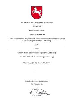 Bestellung zum Notar - Christian Freericks