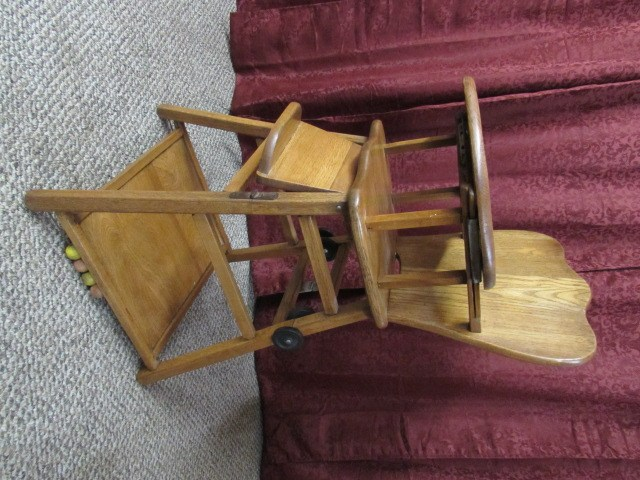 antique wooden high chair collapsible beach lot detail vintage baby