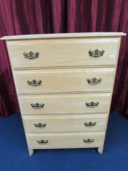 Light Wood Tall Dresser