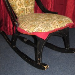 Antique Wood Chair Rubbermaid High Lot Detail - Charming Upholstered Rocking