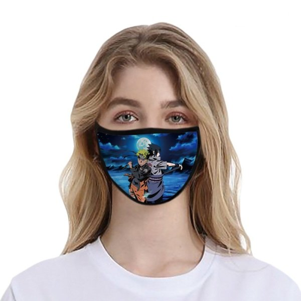 Anime Naruto and Sasuke Washable and Reusable Cotton Face Mask (Pack of 5)