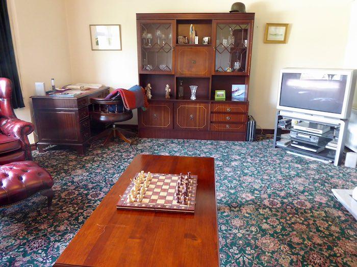 priest's house, living room, jazzy carpet