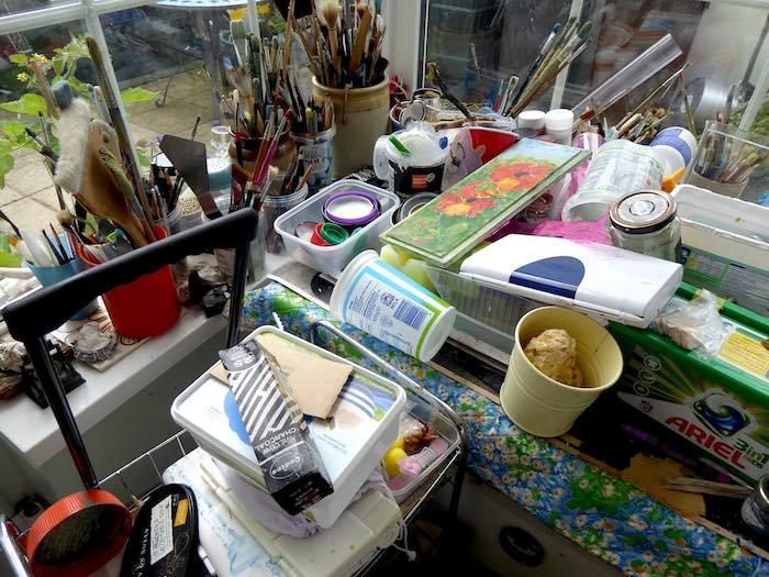 paint, brushes, window