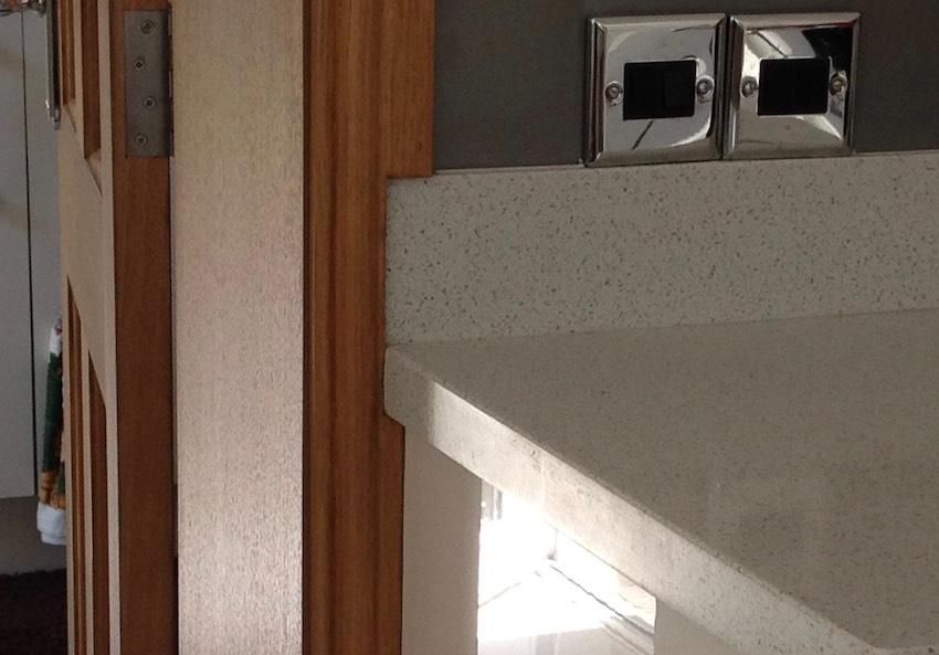kitchen countertop and door frame
