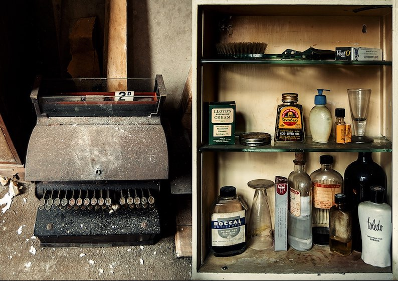 old till and medicine cabinet