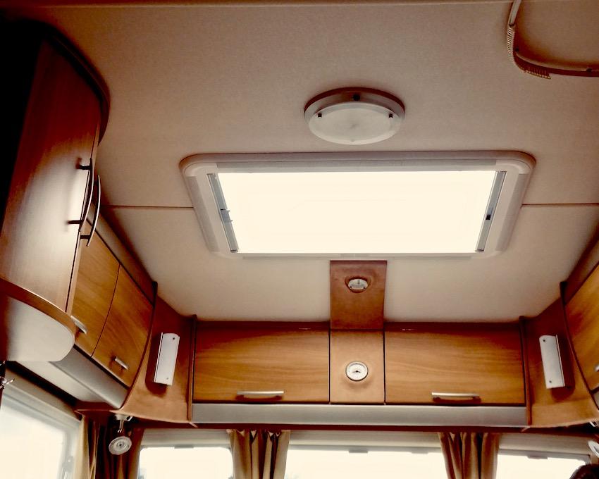 caravan roof light and overhead cupboards