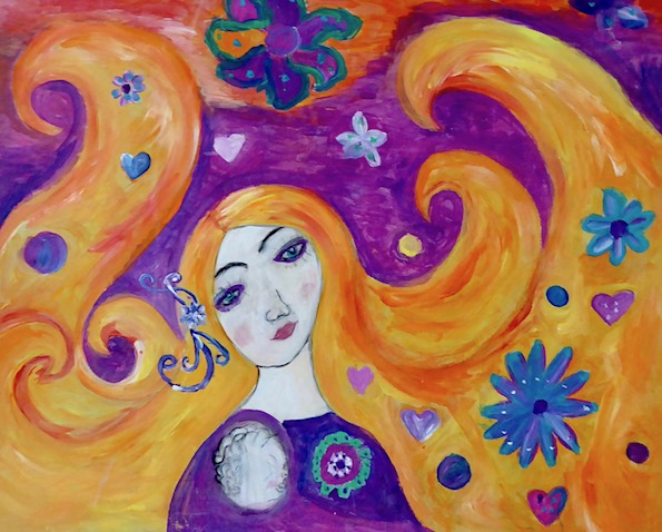 painting of woman with flowing hair