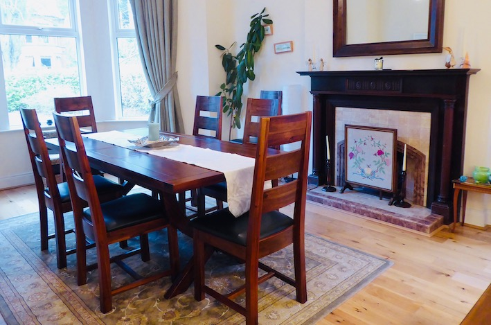 mahogany dining suite and vintage mahogany fireplace