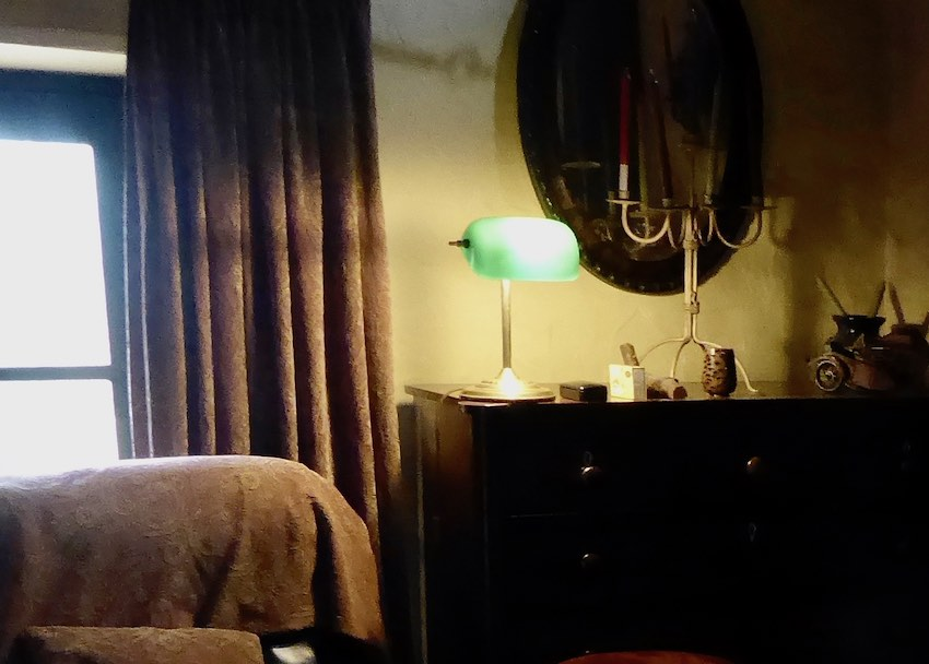 mood lighting in country house, window and lamp