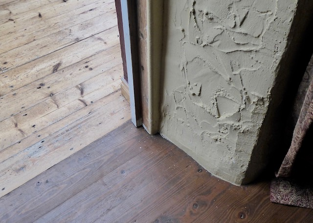 thick walls old country house and recycled wooden floor