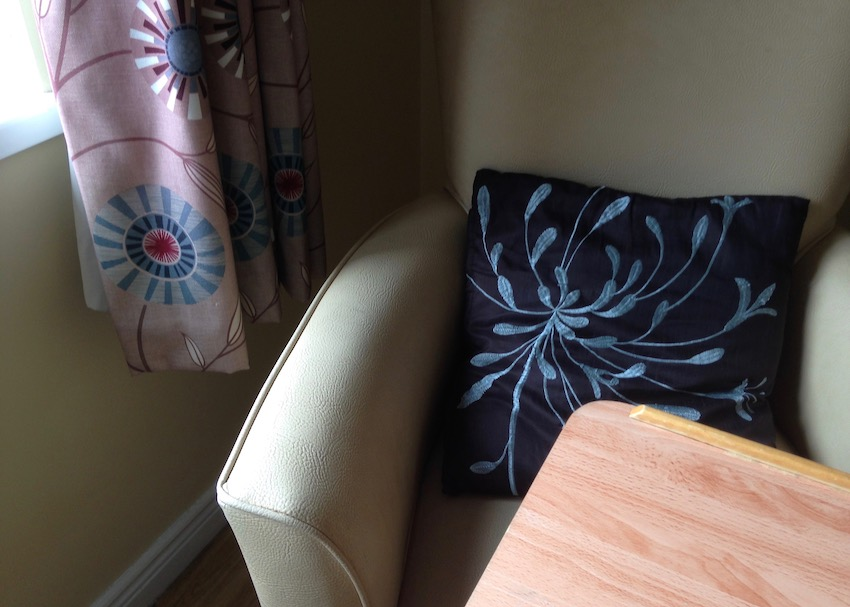 nursing home seat, window and table