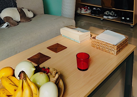 coffee table and fruit in apartment