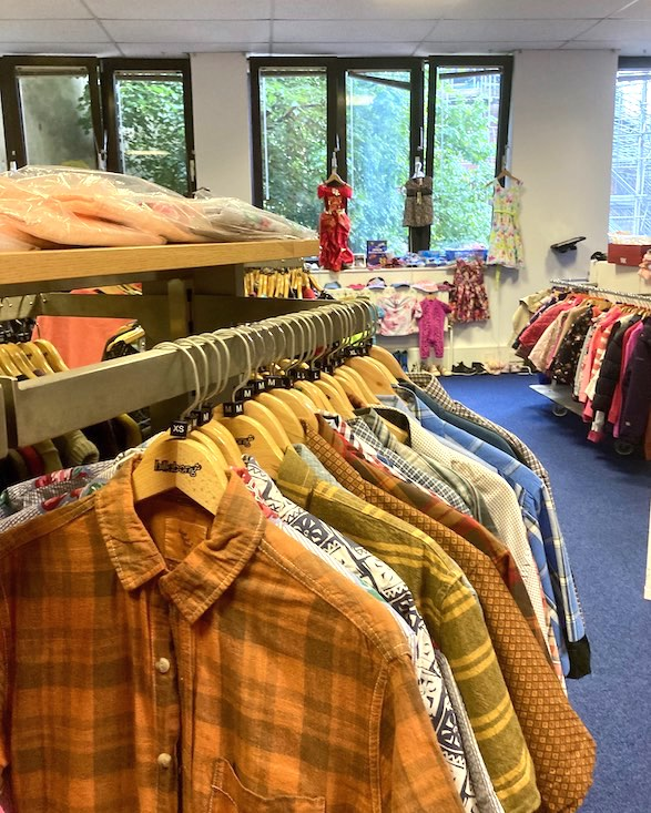 Safe boutique railings with clothing