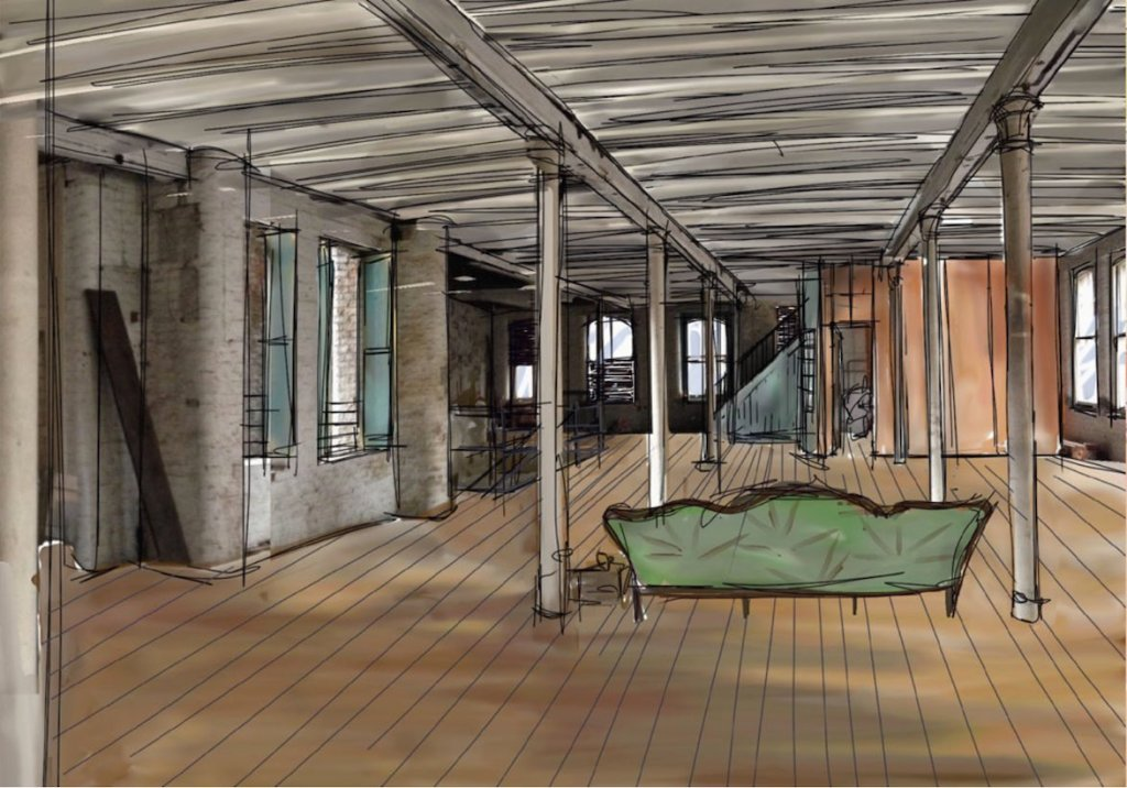 Creative sketch of warehouse living for TV series Cucumber