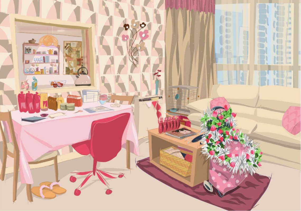 Creative drawing of living room in pink
