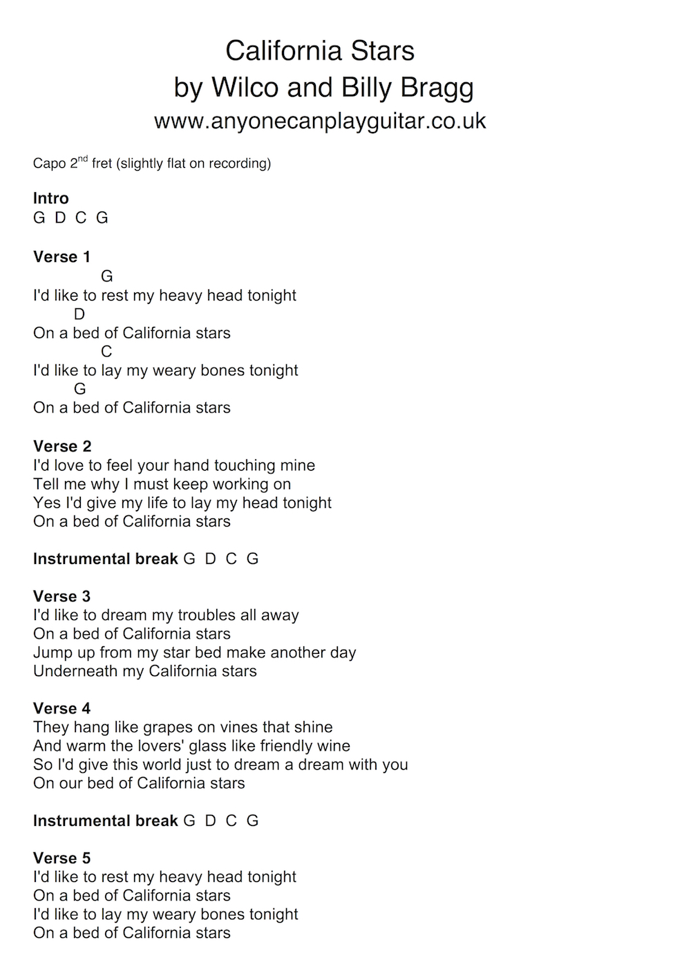 13 song california stars by wilco and billy bragg anyone can this 8 bar chord progression then just repeats for the entire song the chordlyric chart can be found below download it here hexwebz Image collections