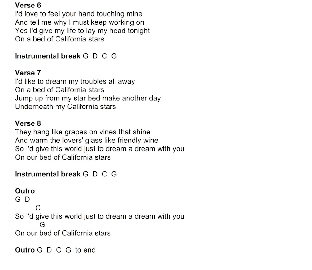 13 song california stars by wilco and billy bragg anyone can this 8 bar chord progression then just repeats for the entire song the chordlyric chart can be found below download it here hexwebz Gallery