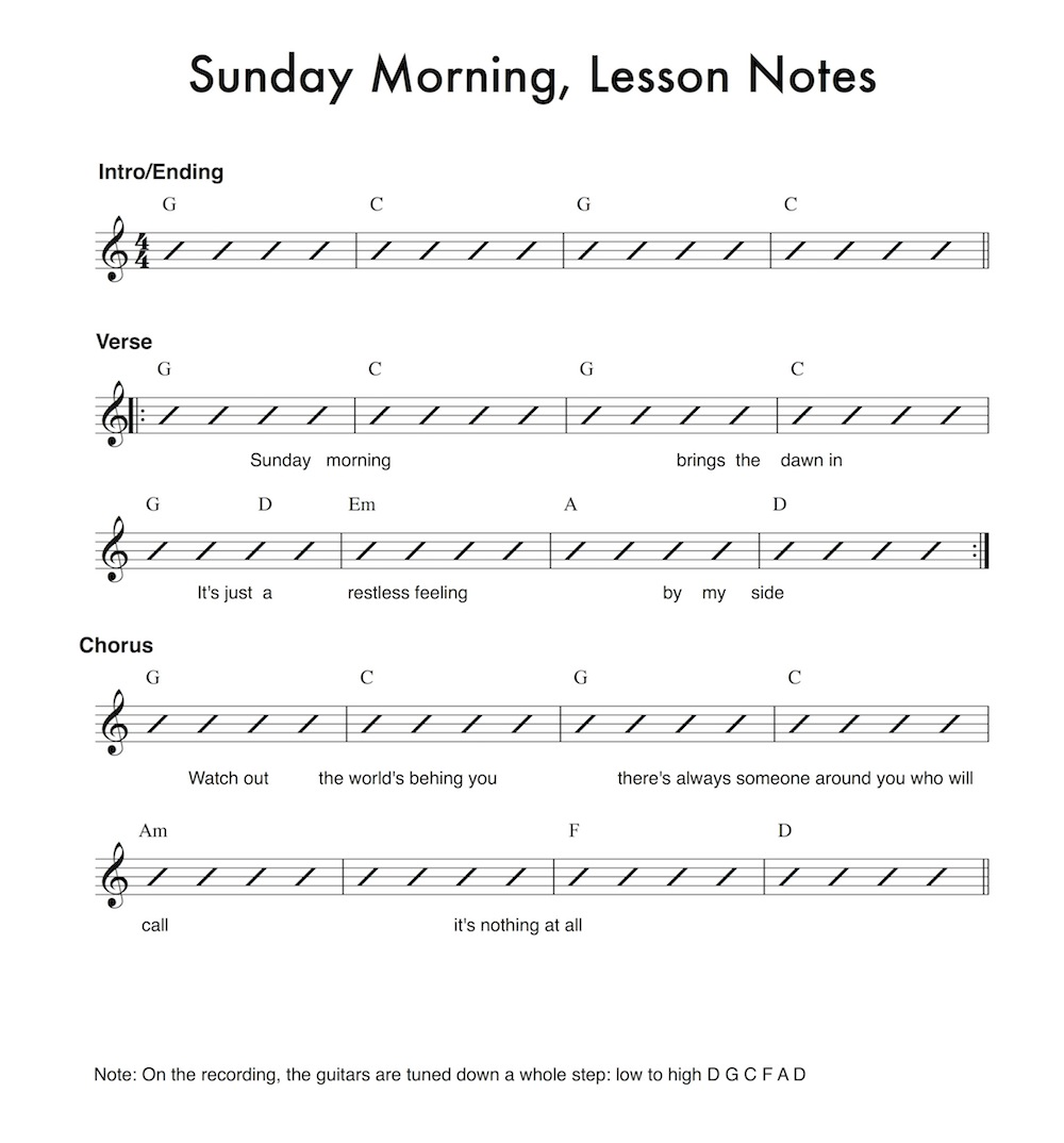 21 song sunday morning anyone can play guitar start by playing the appropriate given number of down strums on each chord add in a more interesting strumming pattern once you have the basics down hexwebz Gallery
