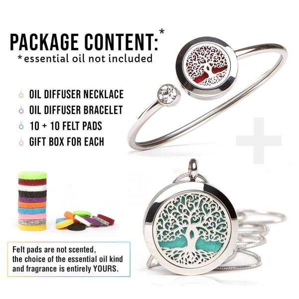 Essential Oil Diffuser Necklace and Bracelet Set