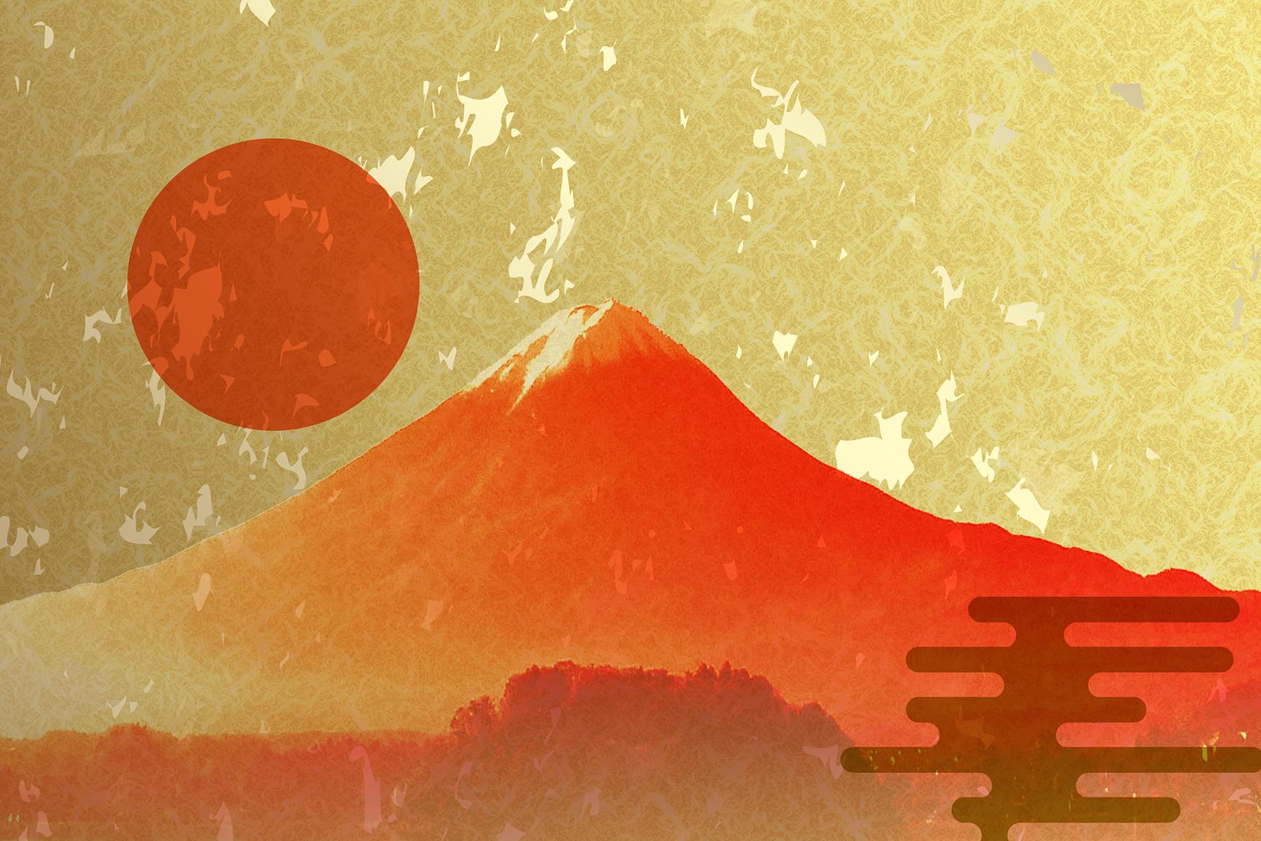 和紙に描かれた富士山と夕日