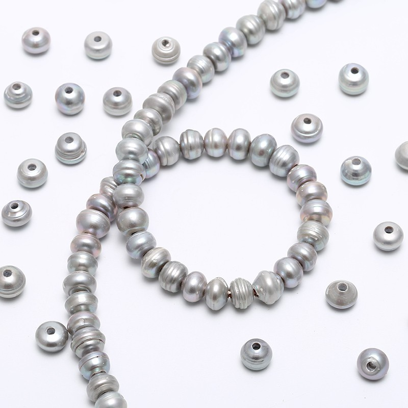 30 Silver Grey Pearls, Button Loose pearl,10-11 mm