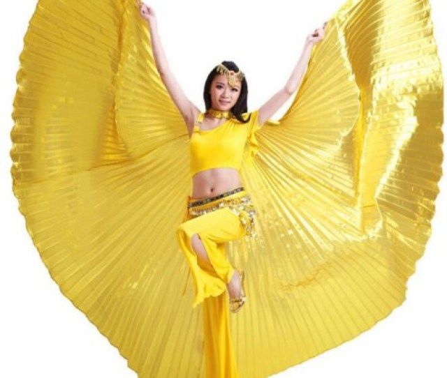 Gold Silver Black Red Fuchsia Hot Pink Green Womens Girls Satin Shiny Oriental Sexy Egypt Belly Dance Isis Big Wings