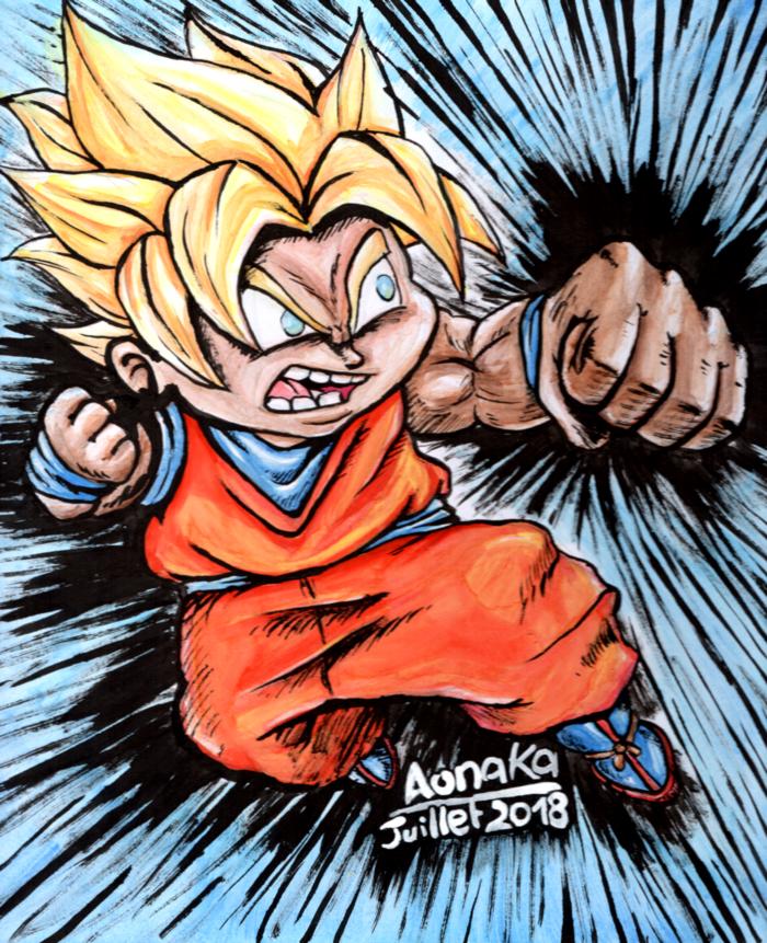Fan Art Dragon Ball Z - Chibi Goku 02 - ssj1