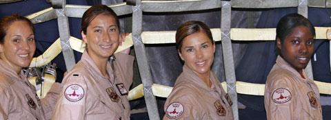 4 women in air force uniforms