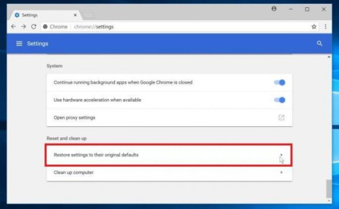 Google Chrome Reset button
