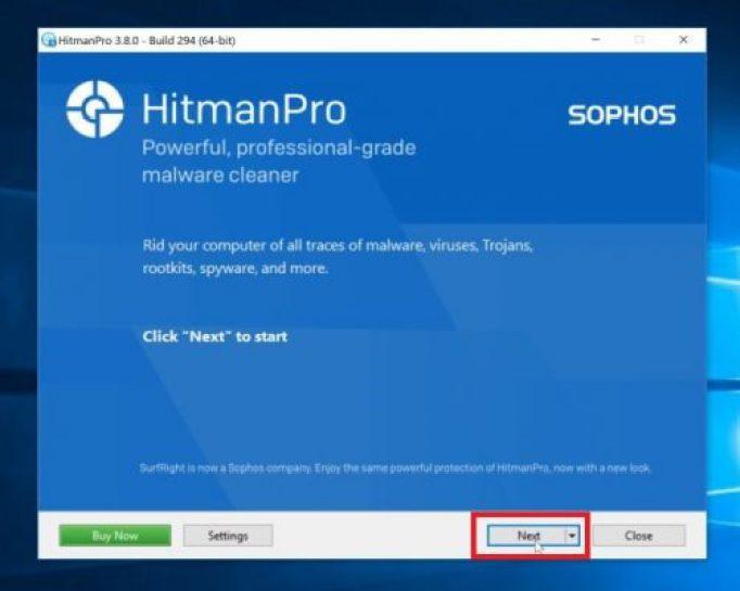 Click Next to install HitmanPro