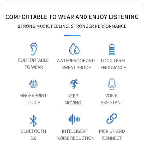 Bluetooth Earphones Wireless Two Ears Sports Running Mini Music Earphones HiFi IPX7 Waterproof earbuds Touch Control Headset for 6