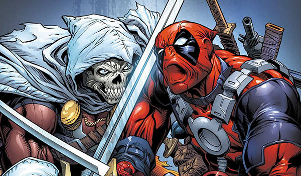 Deadpool facing off against Taskmaster