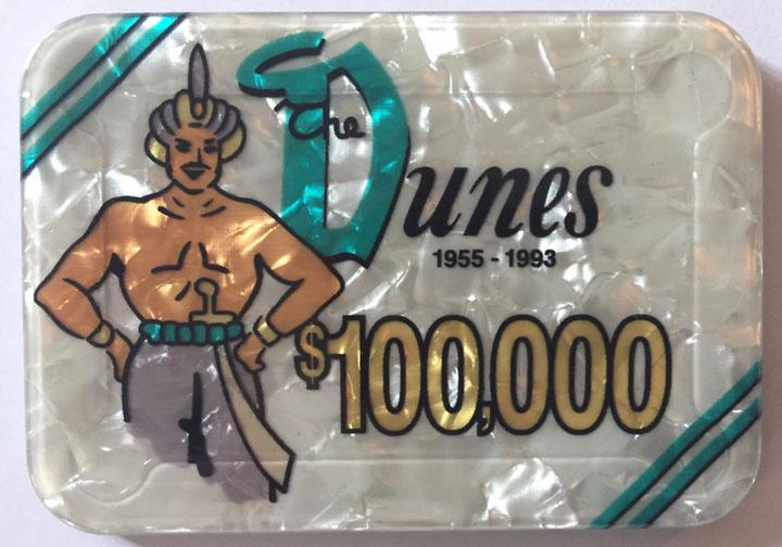 Dunes Casino Las Vegas $100,000 Plaque