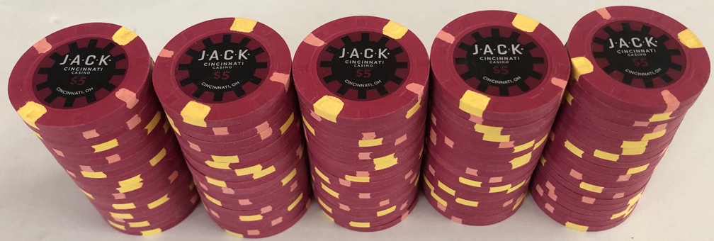 100 $5 Jack Casino Cincinnati $5 Paulson Poker Chips