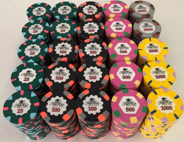 Paulson World Top Hat and Cane Poker Chip Set