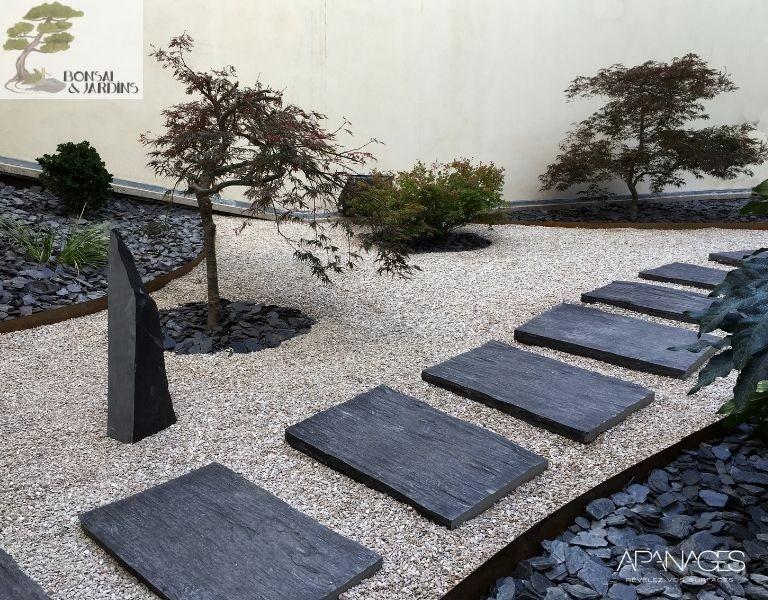 jardin sec sur terrasse bonsai et jardins
