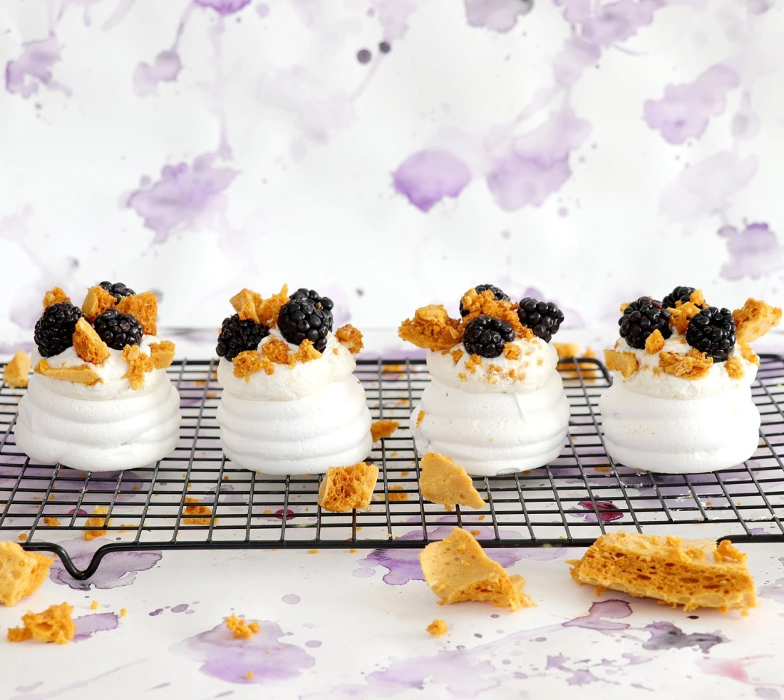 Blackberry and Honeycomb Pavlova