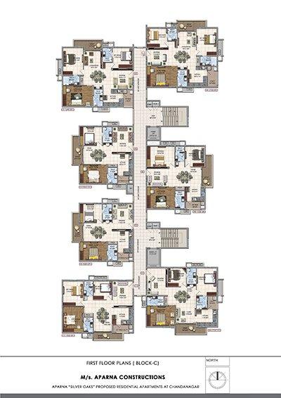 Aparna hillpark silver oaks Chandanagar apartments first floor Block c floor plan